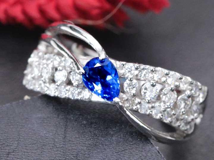 ★クーポンで40%OFF対象★アウイナイト0.31ct ドイツの稀少石 上質ダイヤモンド0.50ctとプラチナ素材の優美デザイン PT900リング・指輪 1点もの/Ycollectionワイコレクション/送料無料