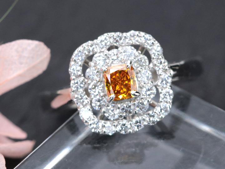 ★クーポンで40%OFF対象★オレンジダイヤモンド 0.253ct FANCY INTENSE YELLOW ORANGE ダイヤモンド二重取り巻き PT950 プラチナ リング・指輪 1点もの GGSJソーティング付/Ycollectionワイコレクション/送料無料