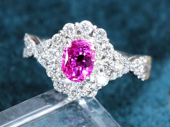 ピンクサファイヤ1.16ct 抜群の発色と透明度 豪華ダイヤ取り巻き0.70ct PTリング・指輪 GIA 1点もの/Ycollectionワイコレクション/送料無料