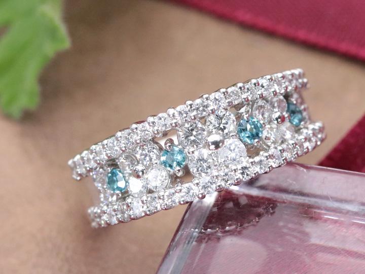 ★クーポンで40%OFF対象★パライバトルマリン 0.13ct 明瞭なネオンブルーと無色ダイヤの見事なコントラスト ダイヤ1.00ct PT900リング・指輪 1点もの/Ycollectionワイコレクション/送料無料