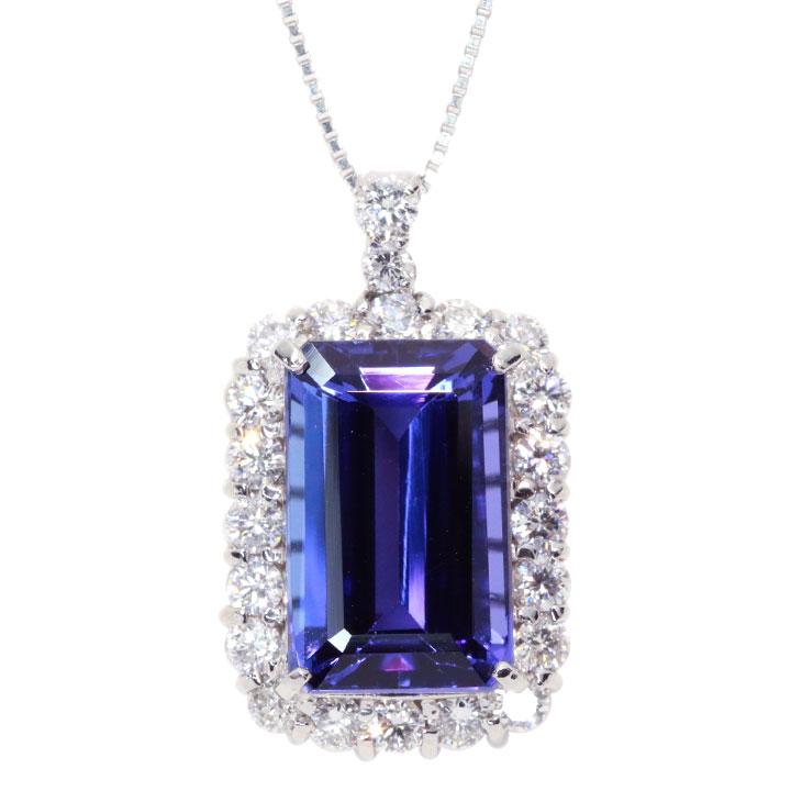 タンザナイト 12.17カラット ダイヤモンド 1.62カラット PT900/PT850 プラチナ ペンダントネックレス 一生ものにできるトップクラスの彩 絶品の大粒 1点もの /Ycollectionワイコレクション/送料無料