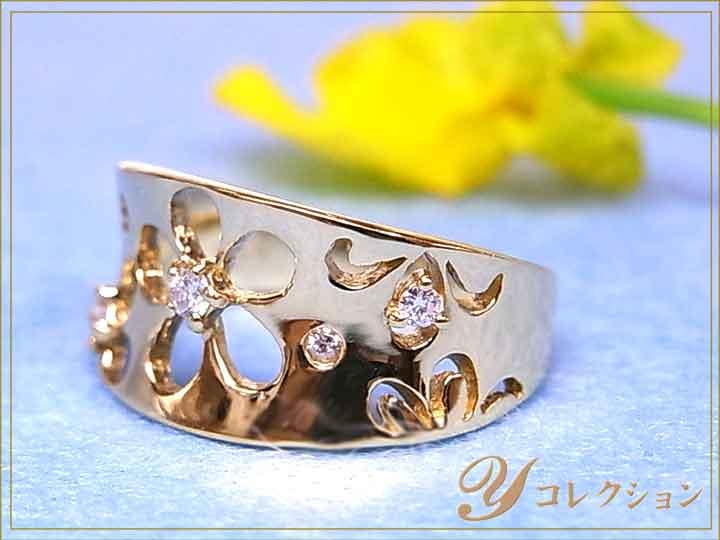 ★クーポンで20%OFF対象★桜のようなくり貫きが上品 K18(WG・PG・PT900) ダイヤモンド(ダイアモンド)0.10ct 1~9号で作成可 ピンキーリング/指輪 イエローゴールド 18金 受注品/