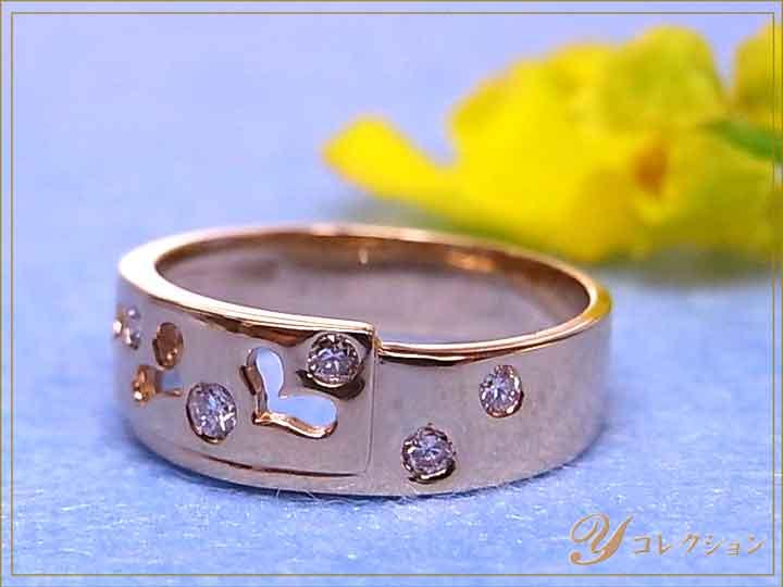 ★クーポンで20%OFF対象★ハートのくり貫きがキュート K18(WG・PG・PT900) ダイヤモンド(ダイアモンド)0.10ct 1~9号で作成可 ピンキーリング/指輪 イエローゴールド 18金 受注品/