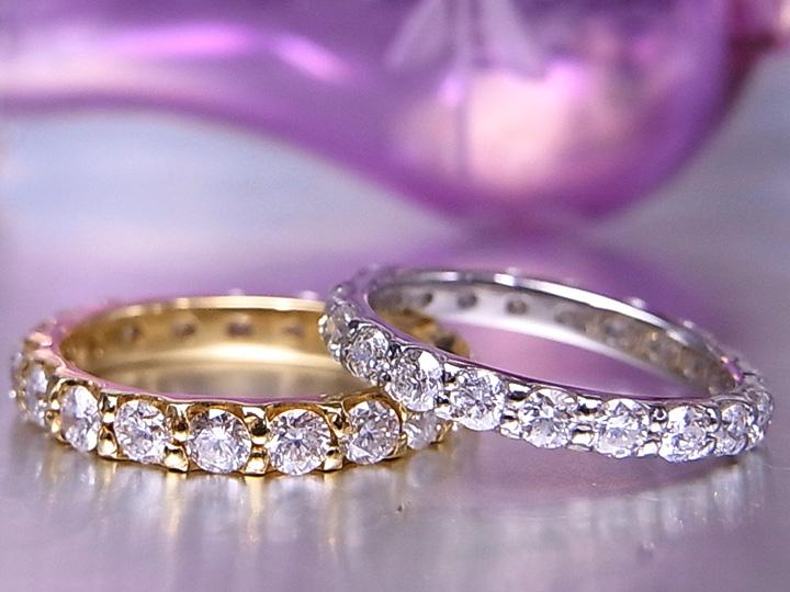 ★クーポンで20%OFF対象★フルエタニティのピンキーリング登場!ご希望のサイズで作成・K18(WG・PG・PT900) ダイヤモンド(ダイアモンド)1ct前後 指輪 イエローゴールド 18金 受注品/