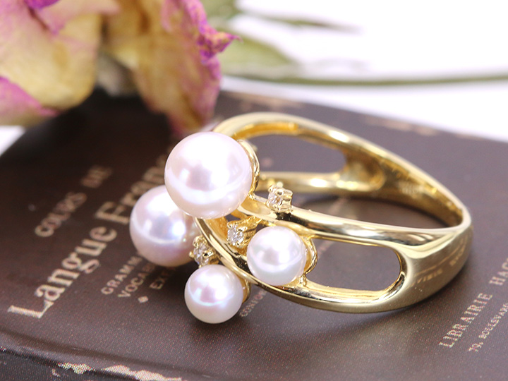 ★クーポンで20%OFF対象★花珠級のアコヤ真珠5珠とダイヤモンドがリズミカルに弾むK18リング (各地金素材対応可能)受注品/Ycollectionワイコレクション/送料無料