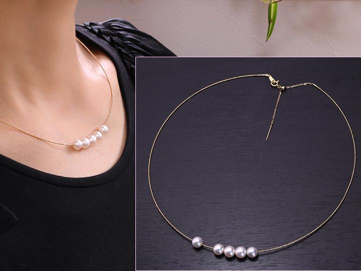 ★クーポンで20%OFF対象★上質アコヤ真珠6.5mmの5珠が並ぶ シンプルK18ワイヤーネックレス 便利な金具で活用度大 受注品/Ycollectionワイコレクション/送料無料