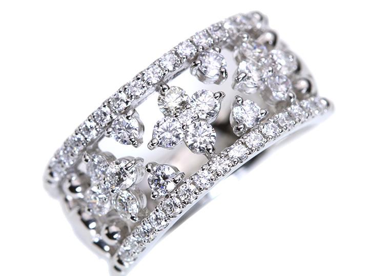 ★クーポンで20%OFF対象★上質VSレベルのダイヤモンドで描く合計1カラットの幅広デザインPTリング(各地金素材対応可能) ママにオススメ日常使いリング 受注品/Ycollectionワイコレクション/送料無料
