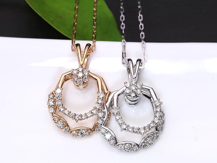ダイヤモンド1カラット 1.0ct 人気のスイングデザイン K18ネックレス(K18WG/K18PG選べる素材) 受注品/Ycollectionワイコレクション/送料無料