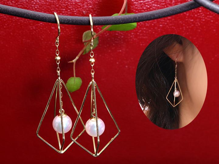 ★クーポンで20%OFF対象★一粒アコヤ真珠が揺れる、フック式ピアス 大人女子にオススメの上品清楚パールピアス(各種地金対応可) 受注品/