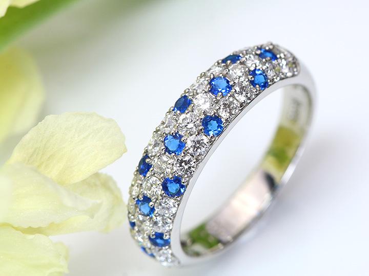 稀少石アウイナイト×上質ダイヤのパヴェPT950リング 指輪 コバルトブルーの発色に虜になってください お作り致します/Ycollectionワイコレクション/送料無料