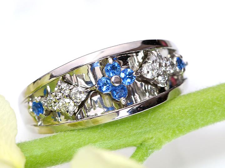 ★クーポンで20%OFF対象★稀少石アウイナイトが鏡面プラチナ素材に呼応して輝く PTリング ダイヤも上質 受注品/Ycollectionワイコレクション/送料無料