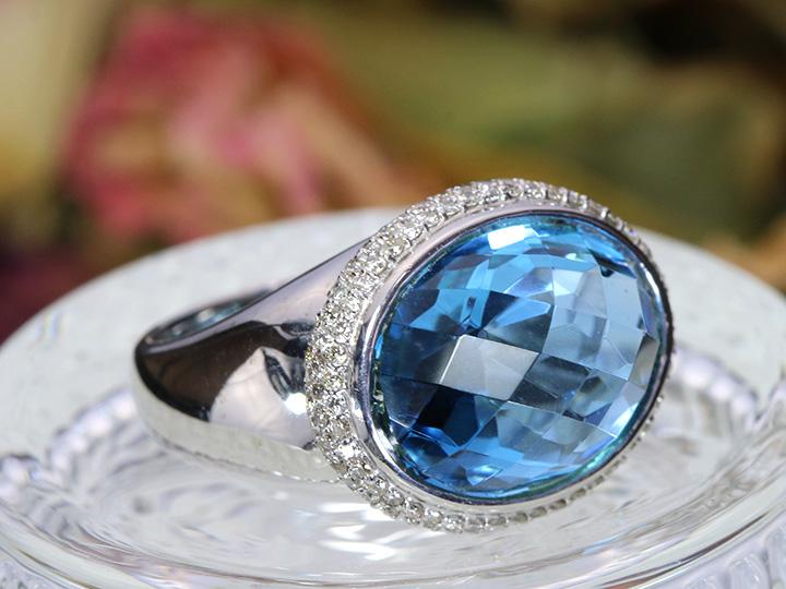★クーポンで40%OFF対象★ブルートパーズのドームに上質ダイヤパヴェ ブランドライクなデザイン力が魅力のK18WGリング・指輪 1点もの/Ycollectionワイコレクション/送料無料
