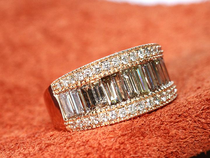 ★クーポンで20%OFF対象★テーパーカットのブラウンカラーダイヤモンドがずらりと並ぶ合計2.00ctK18PGリング・指輪 受注可 指いっぱいに広がるダイアモンドのオーラ!/Ycollectionワイコレクション/送料無料