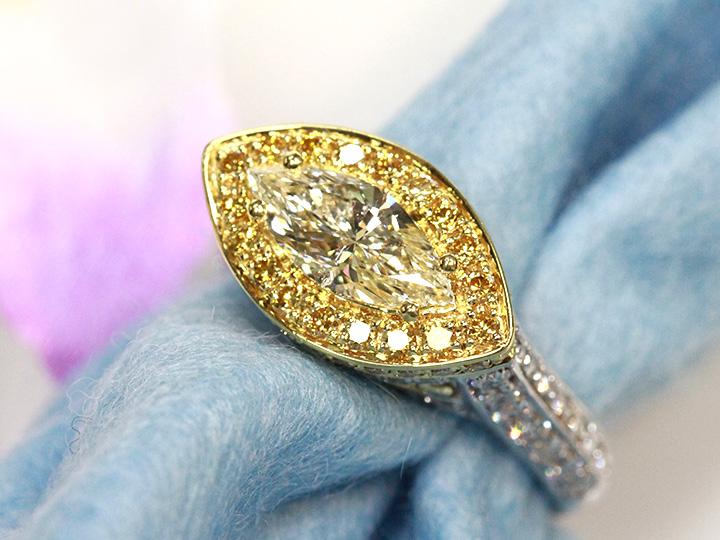 ★クーポンで40%OFF対象★大粒マーキスカットダイヤモンド1.054ct M SI2 PT900/K18リング・指輪 1点もの 明瞭なイエローダイヤ取り巻きに個性的デザインは必見/Ycollectionワイコレクション/送料無料