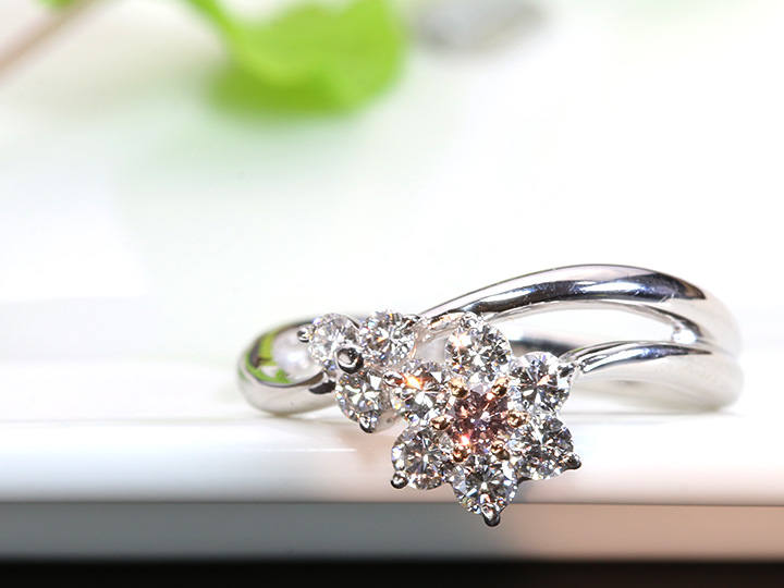 ★クーポンで40%OFF対象★FANCY LIGHT PINK ファンシーライトピンクダイヤモンド0.069ct フラワー2連デザインPTリング・指輪 ソーティング付 1点もの/Ycollectionワイコレクション/送料無料