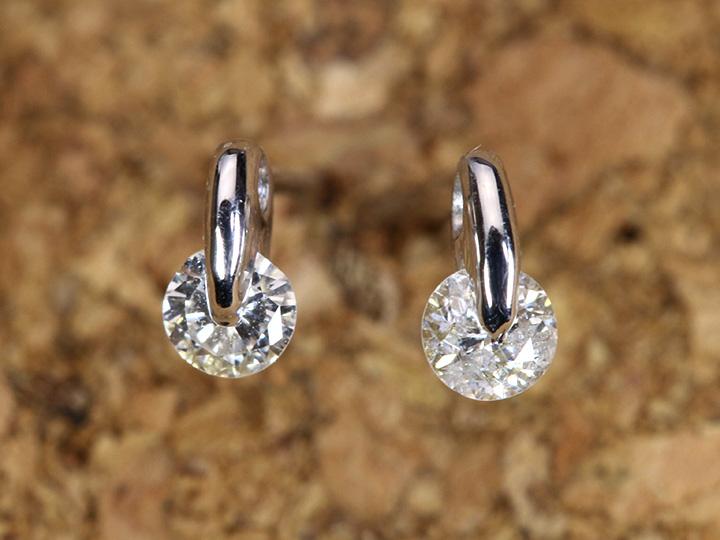 ★クーポンで20%OFF対象★ダイヤモンド合計0.2ct 1点留セッティングのピアス一粒ダイヤの存在感光る K18WG(各種地金・金具対応可)/Ycollectionワイコレクション/送料無料