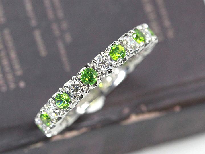 偉大な ロシア産の稀少で貴重なデマントイドガーネット0.485ct ダイヤモンド0.60ct ハーフエタニティ PT900リング 指輪 ホーステール/Ycollectionワイコレクション/即納可能, コクミンドラッグ d1283f0e