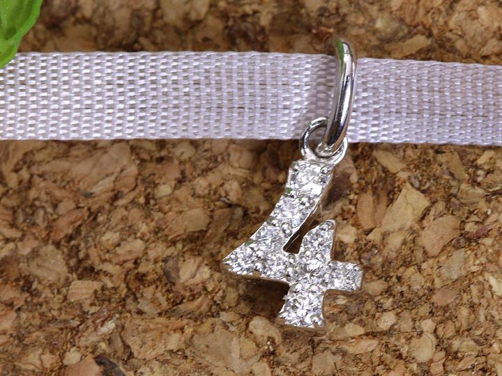 【ギフト応援プライス】人気のナンバージュエリー 数字 No.4 K18WGペンダントトップ びっしり質の良いダイヤが煌く 作り良好 (各地金素材対応可能)受注品/Ycollectionワイコレクション/送料無料