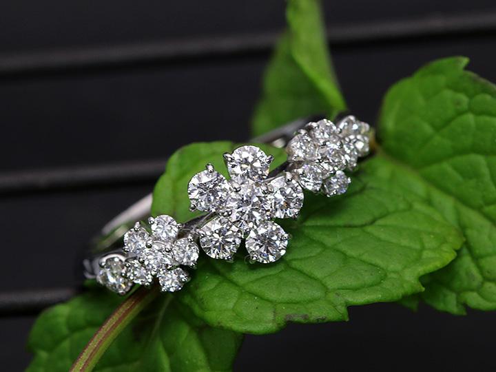 ★クーポンで20%OFF対象★VSレベルの眩しいダイヤモンド0.60ct 上品質のまぶしさに感動するフラワーK18WGリング(各地金素材対応可能)受注品/Ycollectionワイコレクション/送料無料