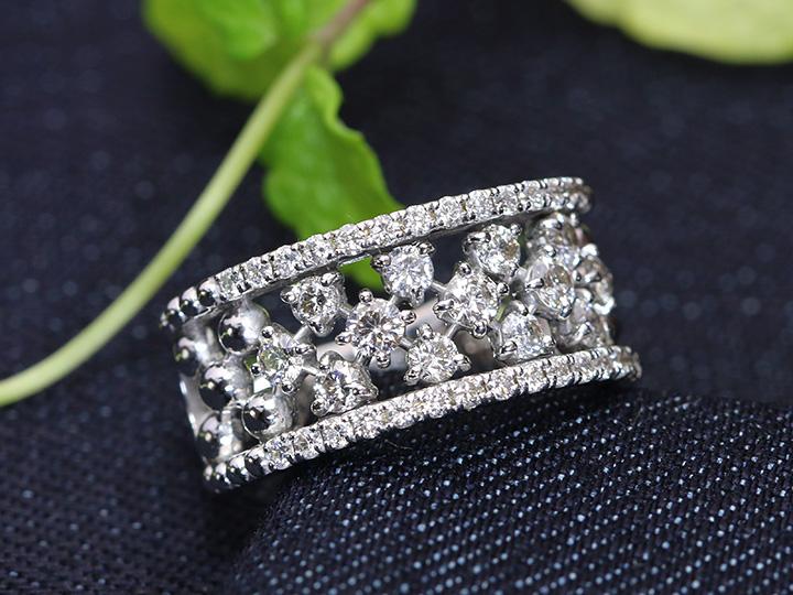 ★クーポンで40%OFF対象★VSレベルのダイヤモンド合計1カラットでつなぐバンドタイプK18WGリング 指輪 1点もの フラットデザインで日常使い/Ycollectionワイコレクション/送料無料