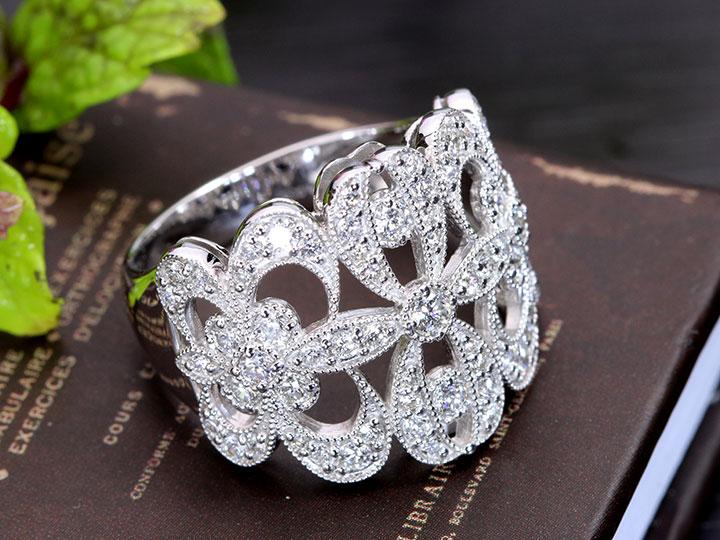 ★クーポンで20%OFF対象★フレアデザイン ダイヤモンド1.00ctとミルグレーンが美しいPT900プラチナリング 指輪 1カラット(各地金素材対応可能)受注品/Ycollectionワイコレクション/送料無料