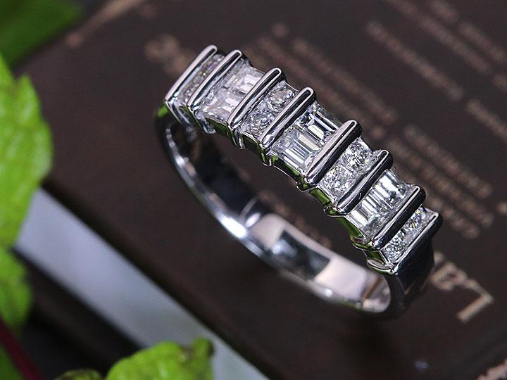 ★クーポンで20%OFF対象★上質VSレベルの角ダイヤモンドが主役!ダイヤモンド0.55ctの一文字・ハーフエタニティPT900プラチナリング 指輪(各地金素材対応可能)受注品/Ycollectionワイコレクション/送料無料