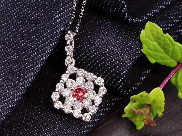 ★クーポンで40%OFF対象★VIVIDカラー!濃厚ピンクダイヤモンド(トリーテッド)大粒0.22ct・ダイヤモンド0.70ct K18WGネックレス 1点もの/Ycollectionワイコレクション/送料無料