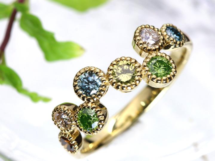 ★クーポンで40%OFF対象★カラーダイヤモンド0.143ct ワクワクする彩!虹色アミュレットカラーK18YGリズミカルに弾む リング 指輪 1点もの/Ycollectionワイコレクション/送料無料