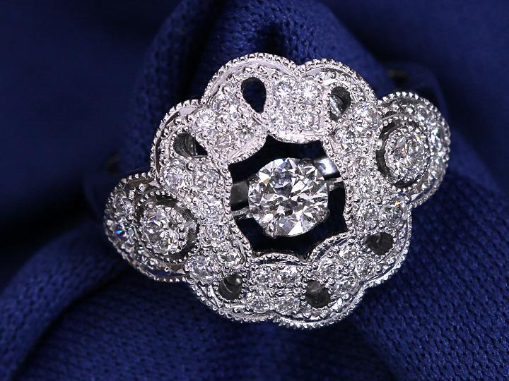 ★クーポンで40%OFF対象★0.3ctの大粒ダイヤが揺れて煌めく・デコレーションダイヤ0.50ctも豪華な K18WGダンシングストーンリング 指輪 1点もの/Ycollectionワイコレクション/送料無料