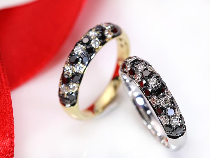 ★クーポンで20%OFF対象★ブラックダイヤモンドの中に花咲く無色ダイヤのフラワー・びっしりパヴェ1ct★K18(K18WG)リング 指輪 受注品/Ycollectionワイコレクション/送料無料