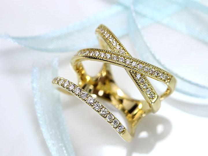 【スーパーSALE限定・受注品25%OFF 165000円⇒123750円へ!】まるで重ねつけしているようなデザイン ダイヤモンド0.36ct 大振りデザインのK18YGリング 指輪 受注品 /Ycollectionワイコレクション/送料無料
