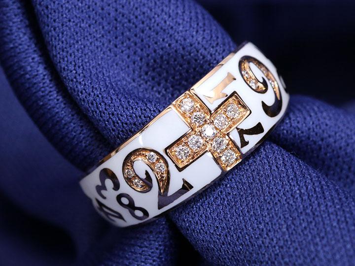 ★クーポンで20%OFF対象★【エナメルナンバー】白(黒)エナメルに弾むナンバー(数字)・エナメルの中にダイヤモンド0.13ctがクロスを描く K18(WG・PG)リング 指輪(各地金素材対応可)受注品/
