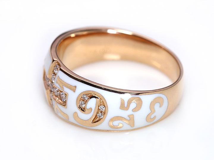 【エナメルナンバー】白(黒)エナメルに弾むナンバー(数字)・エナメルの中にダイヤモンド0.13ctがクロスを描く K18(WG・PG)リング 指輪(各地金素材対応可)受注品/