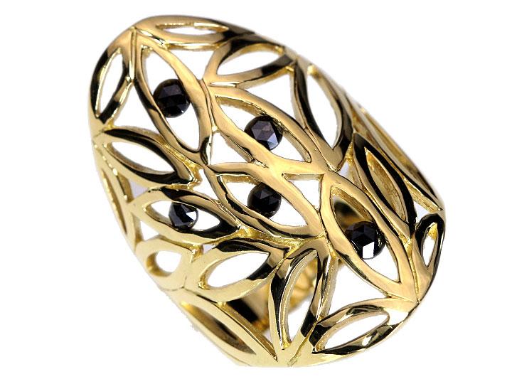 ★クーポンで20%OFF対象★ローズカットのブラックダイヤ0.38ctが煌めく個性的大振りデザインリング 指輪 K18YG 受注品/Ycollectionワイコレクション/送料無料