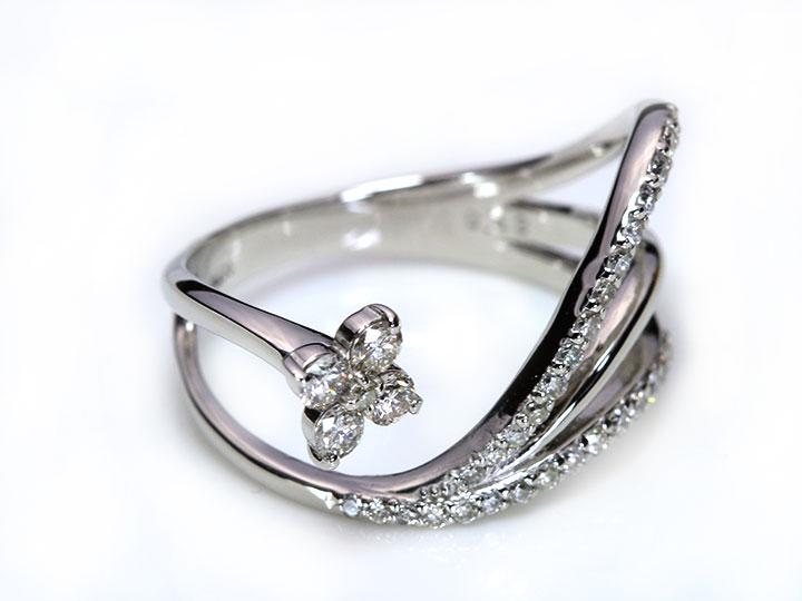 流れるラインが美しい ダイヤモンド0 42ctが煌めく PT900 プラチナリング 指輪 K18素材で制作可能 受注品 Ycollectionワイコレクション 送料無料F1KlcJT3