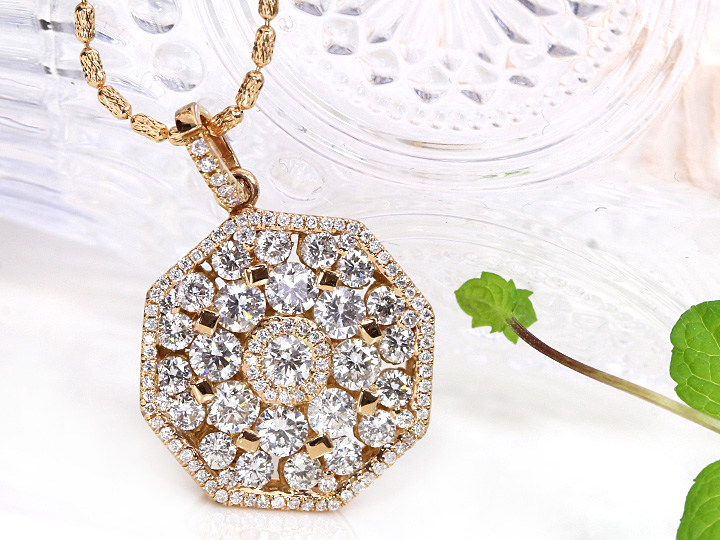 ★クーポンで40%OFF対象★ダイヤモンドの瞬きに圧倒される!合計1.95ct無色ダイヤモンドびっしりK18PGペンダントネックレス 1点もの/Ycollectionワイコレクション/送料無料