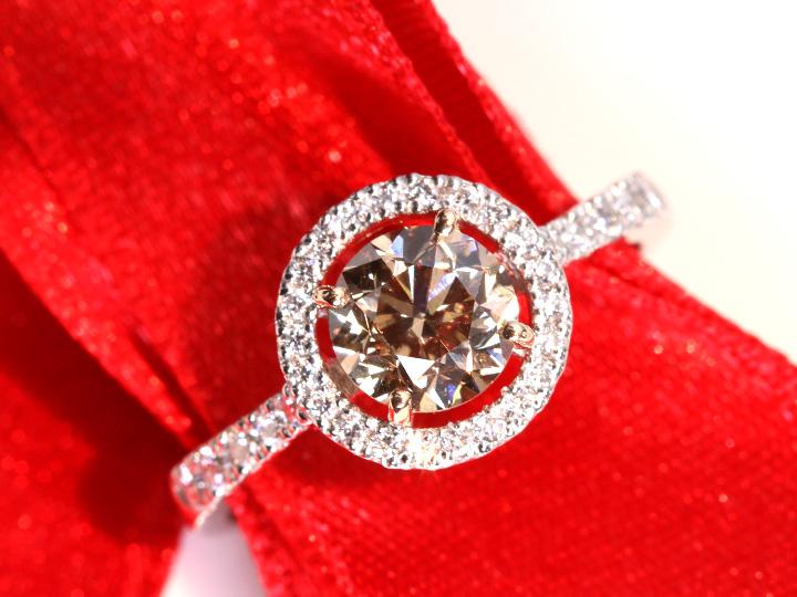 ★クーポンで40%OFF対象★ブラウンカラーダイヤモンドFANCY BROWN SI1 シャンパンゴールドカラーのPT900/K18リング 指輪 サークルデザイン ソーティング付き 1点もの/Ycollectionワイコレクション/送料無料