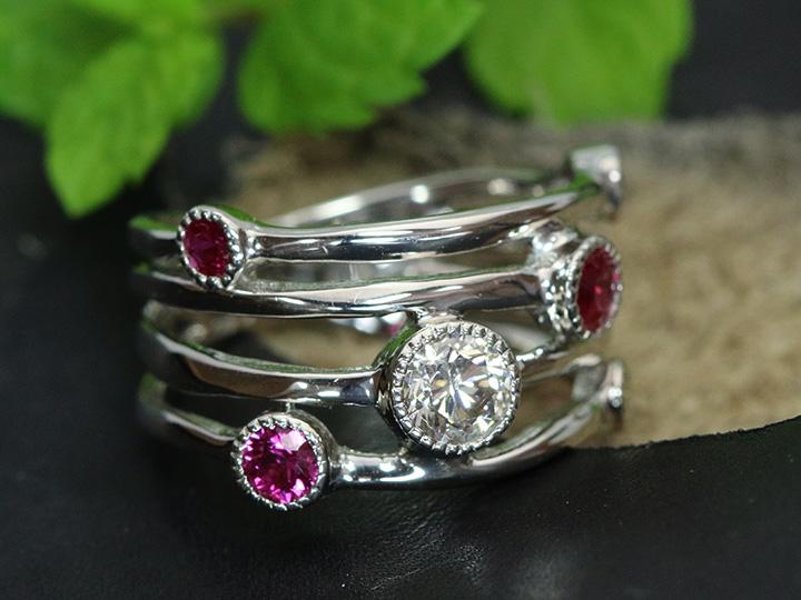 ★クーポンで20%OFF対象★大粒ダイヤモンド0.55ct ルビー0.46ct 幅広デザインのPT900リング指輪 ラインに弾む宝石 受注品/Ycollectionワイコレクション/送料無料