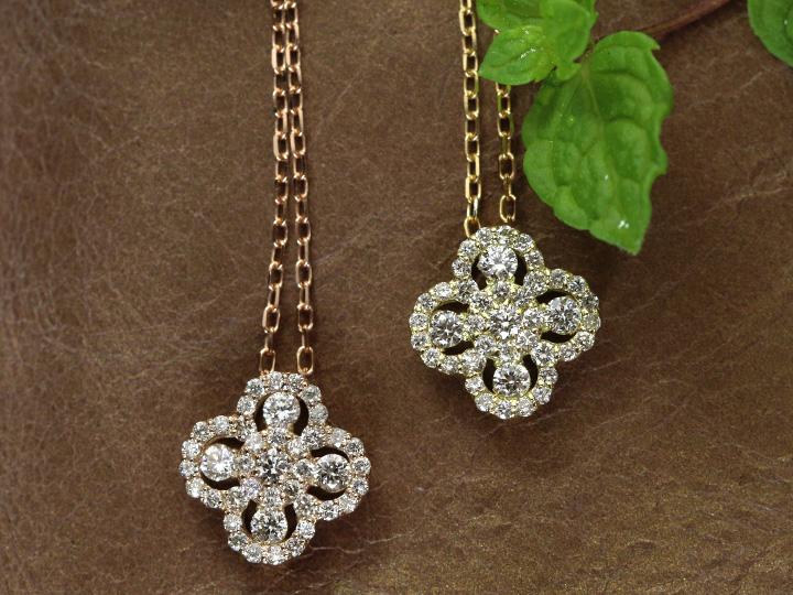 ★クーポンで20%OFF対象★クローバーデザイン・ダイヤモンド0.3ct K18PG(YG)ネックレス 無色透明度の高いダイヤ 受注品/Ycollectionワイコレクション/送料無料