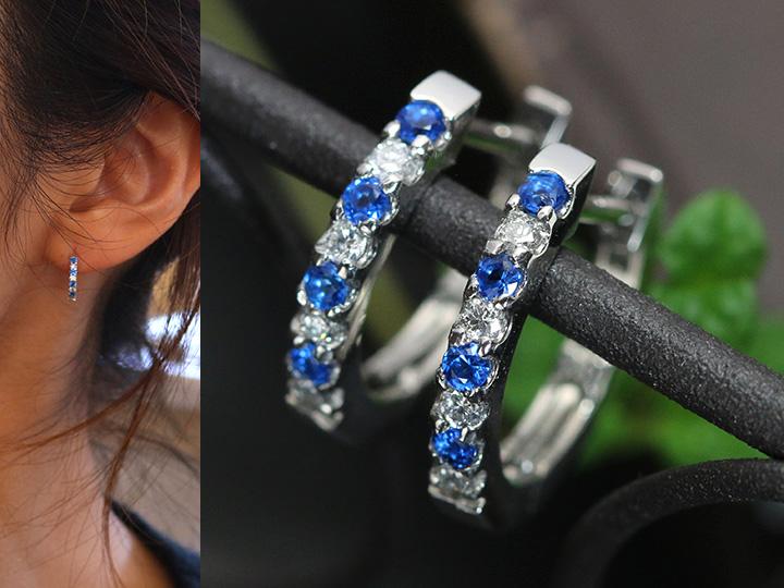 ★クーポンで20%OFF対象★アウイナイトとダイヤモンドが描くコントラスト フープPTピアス 受注品/Ycollectionワイコレクション/送料無料
