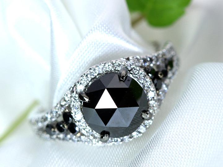 ★クーポンで40%OFF対象★ブラックダイヤモンド大粒2.31ct 周囲無色ダイヤ0.34ctとのコントラストが見事 K18WGホワイトゴールドリング 指輪 1点もの/Ycollectionワイコレクション/送料無料