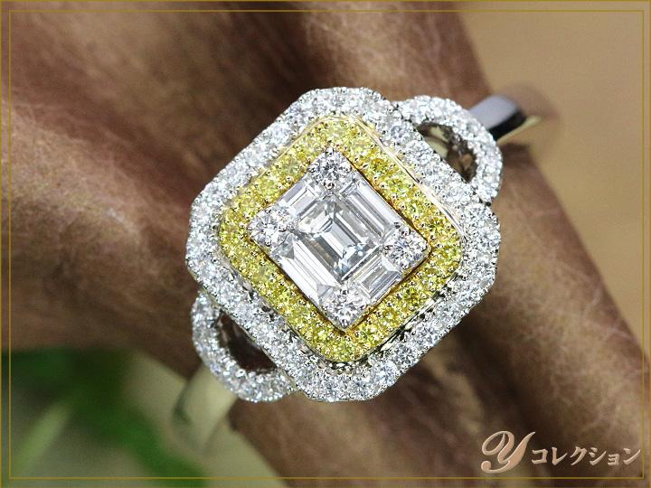 ★クーポンで20%OFF対象★VSレベルの角ダイヤ&イエローダイヤモンド 0.59ct 眩しいほどの煌めき K18WGリング 指輪 ママにオススメ日常使いリング 受注品/Ycollectionワイコレクション/送料無料