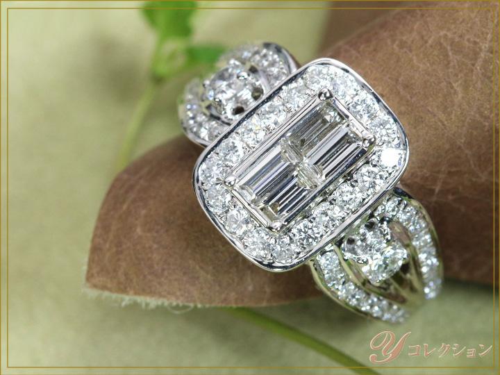 ★クーポンで20%OFF対象★1カラット ダイヤモンド尽くしのK18WGホワイトゴールド リング 指輪 1.00ct 角ダイヤモンドの迫力満点 (各地金素材対応可能) ママにオススメ日常使いリング 受注品/
