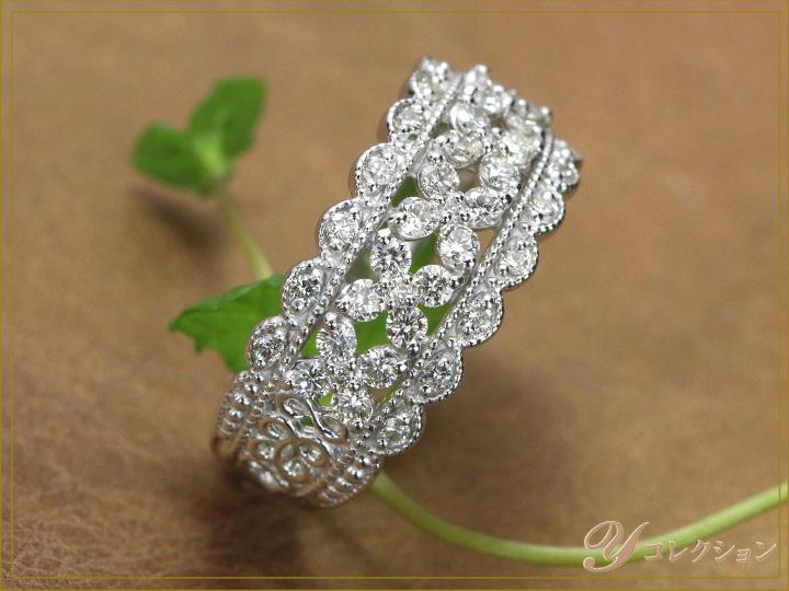★クーポンで20%OFF対象★煌めきあふれるダイヤモンド 0.63ct PT900プラチナリング 指輪 ミルグレーンとレースに煌めく上質ダイヤモンドが魅力(各地金素材対応可) ママにオススメ日常使いリング 受注品/