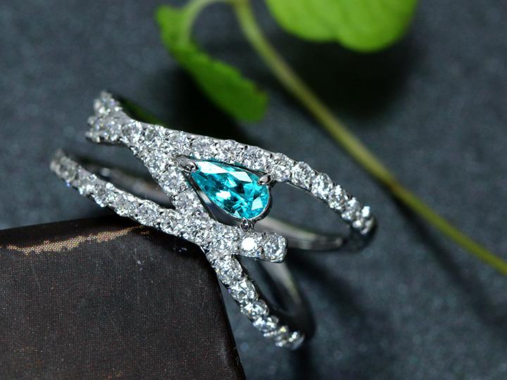 ★クーポンで40%OFF対象★パライバトルマリン 0.22ct 強い光彩とネオン ダイヤモンドのラインが美しいPT900 プラチナ リング 指輪 1点もの/Ycollectionワイコレクション/送料無料
