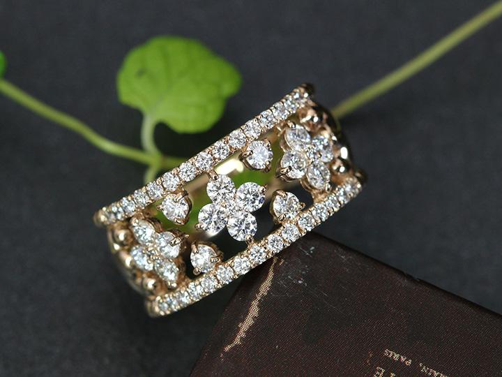 ★クーポンで20%OFF対象★上質VSレベルのダイヤモンドで描く合計1カラットの幅広デザインK18PGリング指輪 ピンクゴールド ママにオススメ日常使いリング 受注品/Ycollectionワイコレクション/送料無料