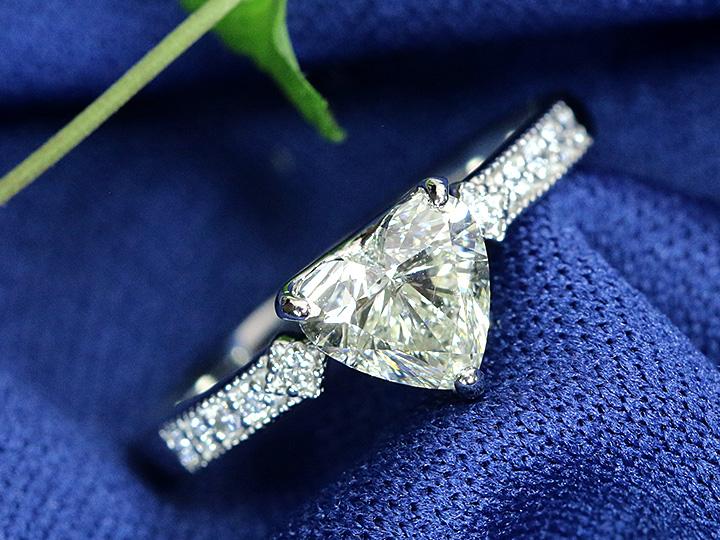 ハートカットダイヤモンド 1カラット 1.012ct ハートシェイプ 一粒ダイヤ Kカラー SI2クラリティ PT900プラチナリング 指輪 ソーティング付き 1点もの/Ycollectionワイコレクション/送料無料
