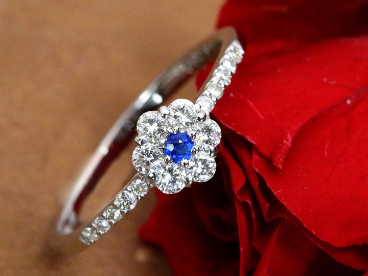 ★クーポンで40%OFF対象★アウイナイト0.03ct 濃厚で上質なコバルトブルー ダイヤモンド取り巻きPT900 リング 指輪 1点もの/Ycollectionワイコレクション/送料無料