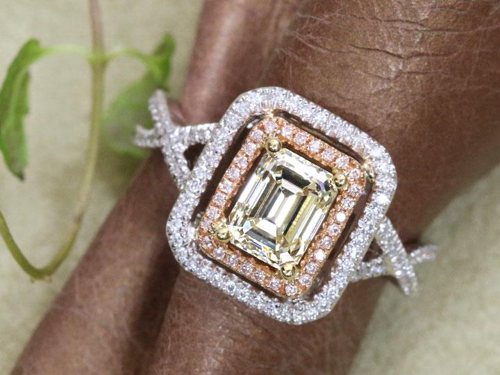 ★クーポンで40%OFF対象★イエローダイヤモンド 1.126ct M VS1 角ダイヤモンド ピンクダイヤモンド取り巻き PT900/K18YGリング 指輪 ソーティング付き 1点もの/Ycollectionワイコレクション/送料無料