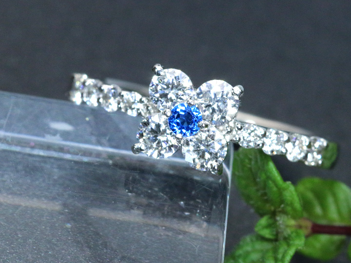 ★クーポンで20%OFF対象★アウイナイト 極上のコバルトブルー 0.047ct ダイヤモンド0.68ct PT900プラチナ リング クローバーのような幸福感 指輪 受注品 /Ycollectionワイコレクション/送料無料
